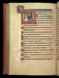 Historiated Initial With Christ Appearing To Mary Magdalene, In A Psalter Preceded By Miniatures And A Calendar